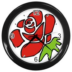 Artistic Red Rose Wall Clock (Black) from Custom Dropshipper Front