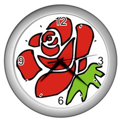 Artistic Red Rose Wall Clock (Silver) from Custom Dropshipper Front