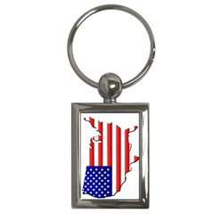 American Map Flag Key Chain (Rectangle) from Custom Dropshipper Front