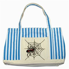 Spider in web Striped Blue Tote Bag from Custom Dropshipper Front